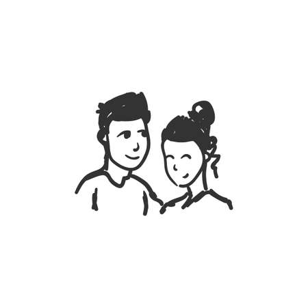 Affection feeling icon. Outline sketch drawing