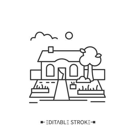 Backyard garden line icon. Editable illustration Illusztráció
