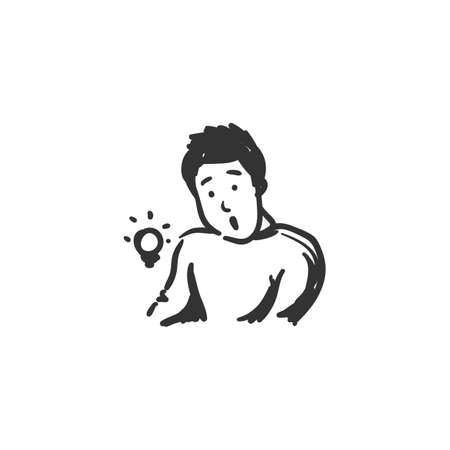 Curiosity feeling icon. Outline sketch drawing