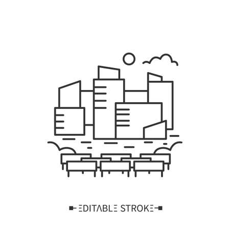 Urban farming line icon. Editable illustration