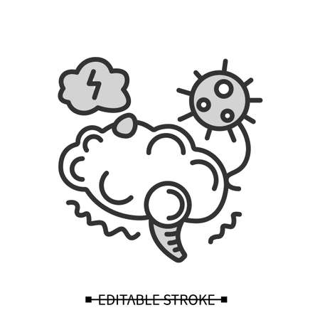 Neurological disorder icon. Covid caused post-traumatic stress syndrome simple vector illustration