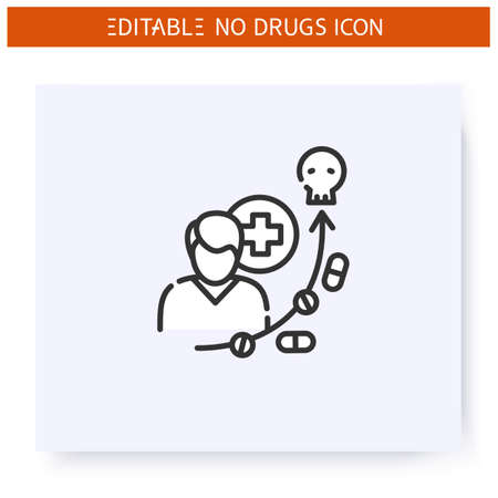 Prescription drug abuse line icon. Editable