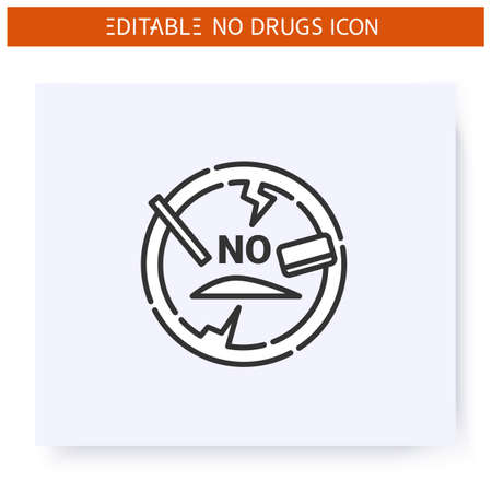 No cocaine line icon. Editeble illustration