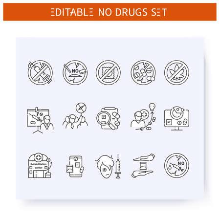 Stop drugs line icons set. Editable illustration Ilustración de vector