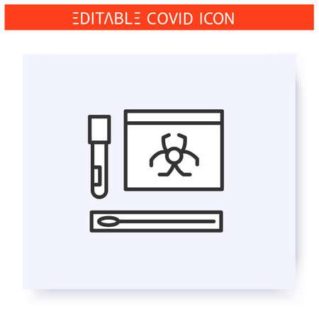 Covid19 nasal swab kit line icon