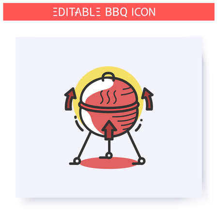 Bbq grill color icon. Editable illustration