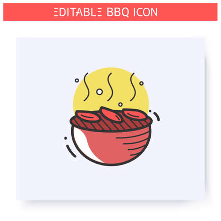 Grilled vegetables color icon. Editable