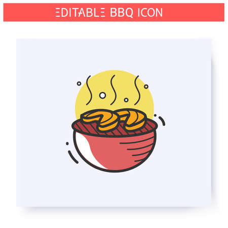Grilled fish steaks color icon. Editable 向量圖像