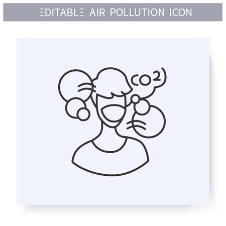 Air pollution line icon. Man in face respirator