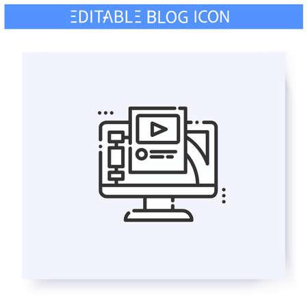 Blogging platform line icon. Editable illustration