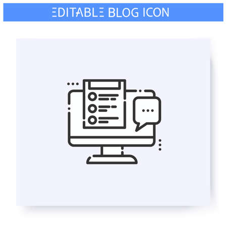 Comments line icon. Editable illustration