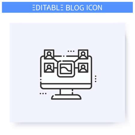 Sharing content line icon. Editable illustration