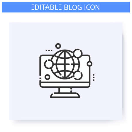 Global internet community line icon. Editable