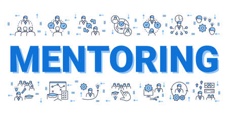 Mentoring concept. Word, icons composition banner