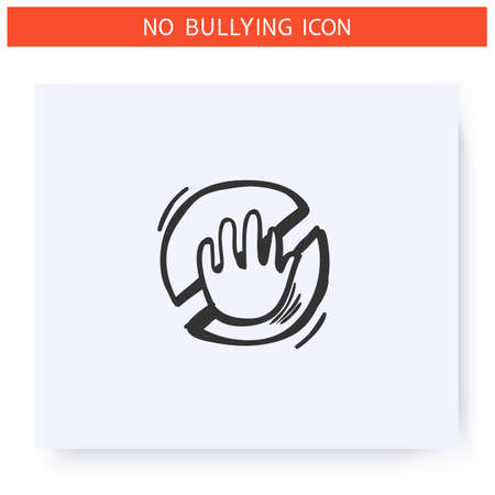 Anti bullying law icon. Outline sketch drawing
