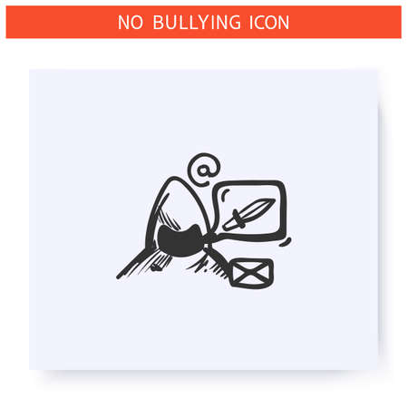 Cyberbullying email icon. Outline sketch drawing
