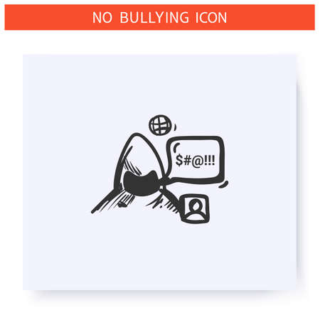 Internet trolling icon. Outline sketch drawing Ilustrace