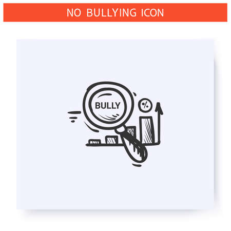 Research on bullying icon. Outline sketch drawing Ilustração