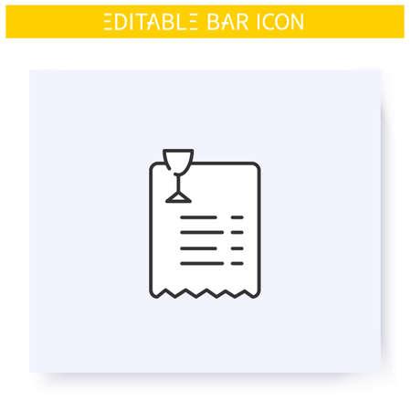 Bar bill line icon. Editable illustration