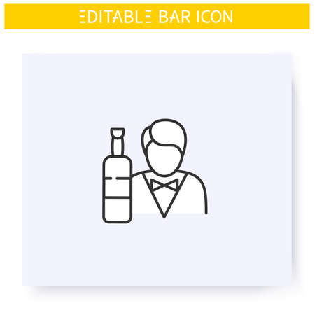 Barman line icon. Editable illustration
