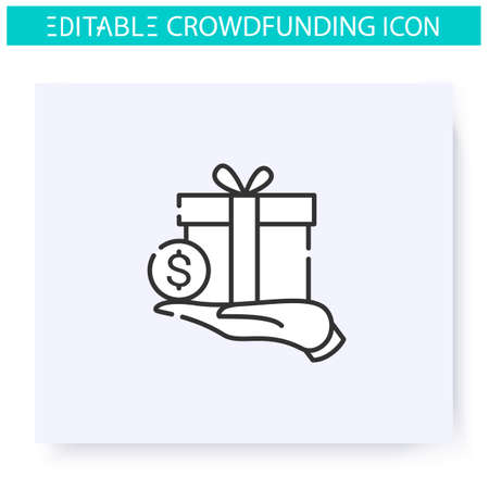 Reward based crowdfunding line icon. Editable