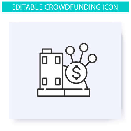 Real estate crowdfunding line icon. Editable