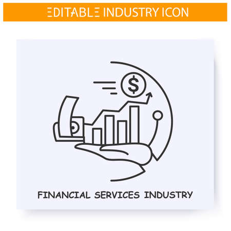 Financial services industry line icon. Editable