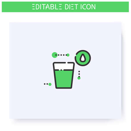 Drink more water line icon. Editable illustration