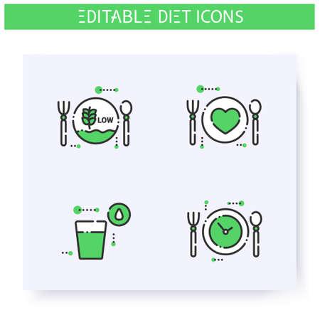 Diet line icons set. Editable illustrations