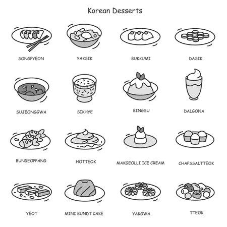 Korean desserts icons set. Sweet rice meals
