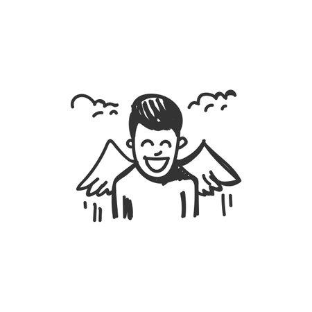 Euphoria feeling icon. Outline sketch drawing 矢量图像