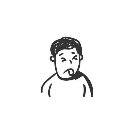 Disgust feeling icon. Outline sketch drawing