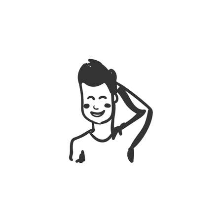Embarrassment feeling icon. Outline sketch drawing Illustration