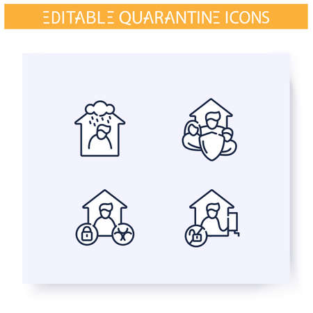Quarantine line icons set.Lockdown in city. Self isolation, stay home, family protection. Covid19 virus spread prevention. Global pandemic fight concept. Isolated vector illustrations.Editable stroke