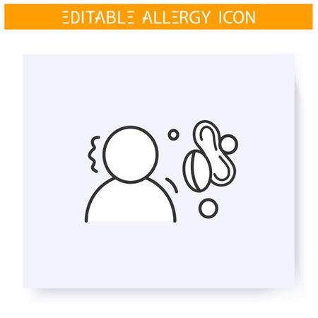 Nut allergy icon. Editable illustration