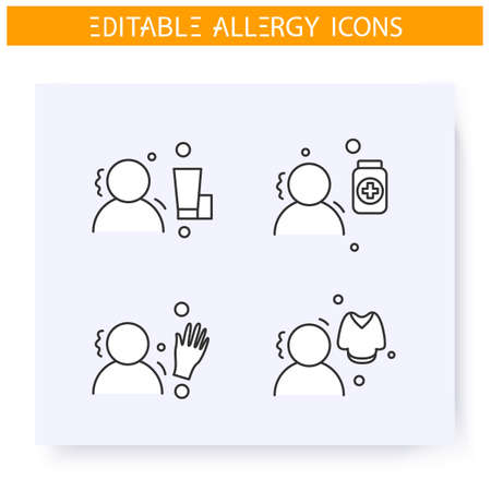 Dermal allergy types line icons set. Edtiable