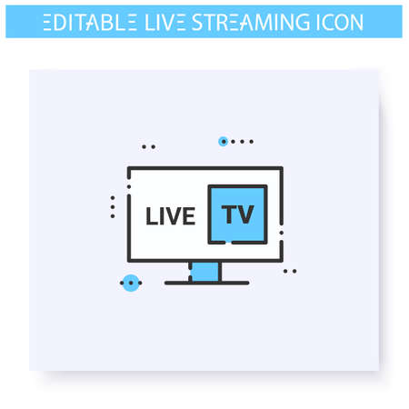 Streaming television line icon. Editable