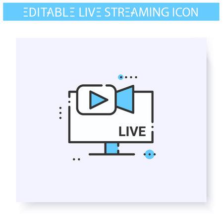 Streaming camera line icon. Editable illustration