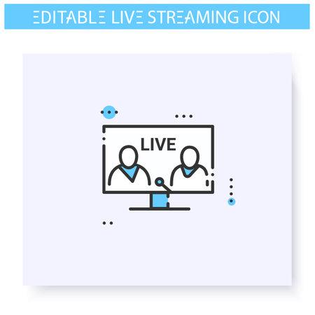 Live interview line icon. Editable illustration