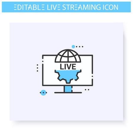 Live production line icon. Editable illustration
