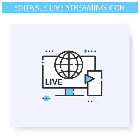 Streaming service line icon. Editable illustration