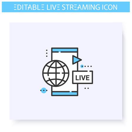 Mobile live stream line icon.Editable illustration