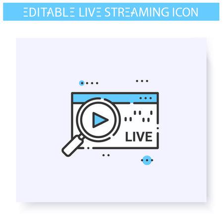 Streaming analytics line icon. Editable