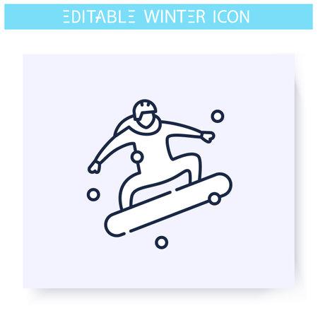 Snowboarding line icon. Editable illustration