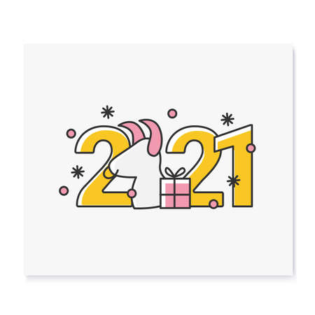 New year 2021 color icon