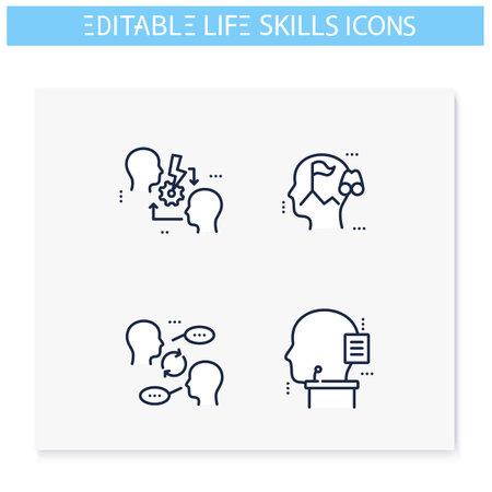 Life skills line icons set. Editable illustrations
