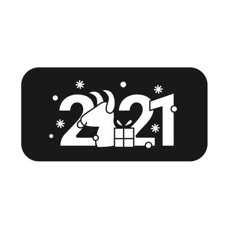 New year 2021 glyph icon Vettoriali