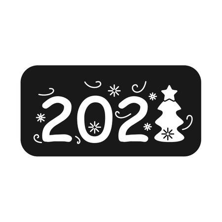 New year 2021 glyph icon Illusztráció