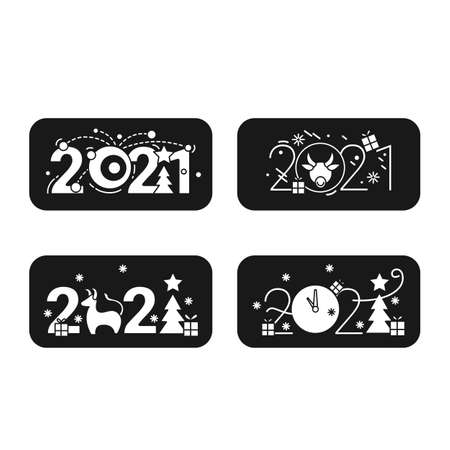New year 2021 glyph icons collection