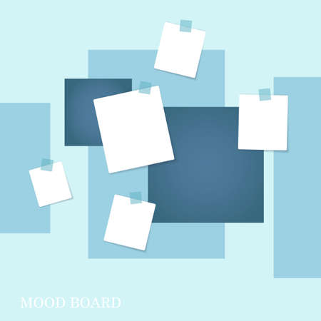 Sticky notes, blue and white pastel mood board